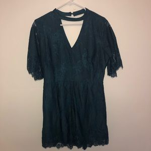 Miami Eyelet Lace Teal Dressy Romper